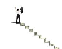 Άτομο πάνω από τα σκαλοπάτια χρημάτων ενθαρρυντικά Στοκ Εικόνες