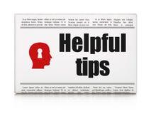 教育概念:与有用的技巧的报纸和 免版税库存图片