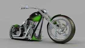 自行车自定义绿色强壮男子的摩托车 库存图片