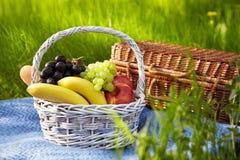 野餐在庭院里。篮子用果子。 库存图片