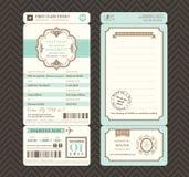 Винтажный шаблон приглашения свадьбы билета посадочного талона стиля Стоковое Фото