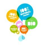 五颜六色的自然产品生物绿色标号组 免版税库存照片