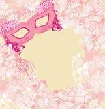 狂欢节面具-抽象花卉卡片 库存照片
