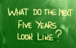 Αυτό που κάνουν τα επόμενα πέντε έτη μοιάστε με την έννοια Στοκ Φωτογραφία