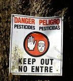 Квадрат знака пестицидов опасности Стоковое фото RF