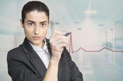 妇女感人的企业图 免版税库存图片