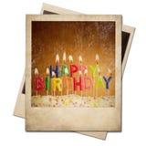 老偏正片被隔绝的生日立即照片框架 免版税图库摄影