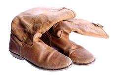 葡萄酒棕色皮靴 库存照片