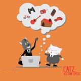 在计算机上的猫企业想法的梦想 库存图片