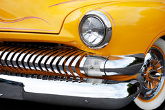 美国经典汽车前面细节  免版税图库摄影