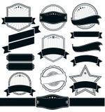 Ретро винтажный значок, ярлык и комплект знамени Стоковое Изображение RF