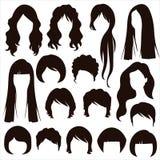 头发剪影,妇女发型 免版税库存图片