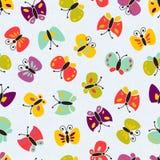 无缝的传染媒介五颜六色的蝴蝶图案。 图库摄影
