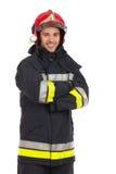 微笑的消防员画象。 免版税库存图片