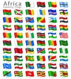 Διανυσματικό αφρικανικό σύνολο εθνικών σημαιών Στοκ εικόνα με δικαίωμα ελεύθερης χρήσης