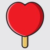 心脏与果子选矿的冰淇凌 库存图片