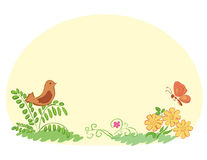与植物群和动物区系的淡黄色背景 免版税库存图片