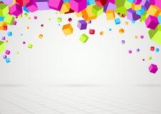 Предпосылка ярких красочных кубов трехмерная Стоковая Фотография
