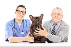 兽医,狗和年长绅士摆在 免版税库存照片