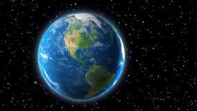 地球看法从空间的与北美 免版税库存照片
