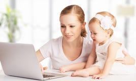 Μητέρα και μωρό που χρησιμοποιούν στο σπίτι το φορητό προσωπικό υπολογιστή Στοκ φωτογραφία με δικαίωμα ελεύθερης χρήσης