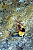 登山人极端释放 免版税库存照片
