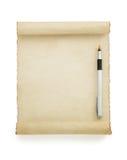在白色的羊皮纸纸卷 免版税库存照片