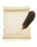 在白色的羊皮纸纸卷 图库摄影