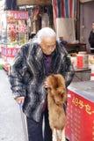 拿着狐狸的老人 免版税图库摄影