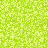 绿色复活节乱画传染媒介无缝的样式 免版税图库摄影