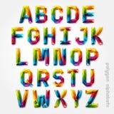 多角形字母表五颜六色的字体风格。 免版税库存照片