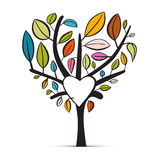 五颜六色的抽象心形的树 免版税库存图片