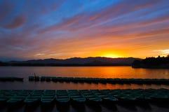 заход солнца лета дворца Стоковая Фотография RF