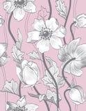 传染媒介无缝的葡萄酒花卉样式 库存照片