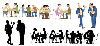 收集行人餐馆 图库摄影
