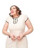 Όμορφος συν τη γυναίκα μεγέθους που μετρά τη μέση Στοκ Φωτογραφία