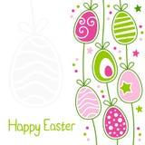 Ευτυχής κάρτα Πάσχας με τα αναδρομικά αυγά Στοκ Εικόνες