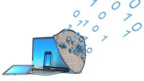 膝上型计算机,智能手机,盾互联网安全 库存图片