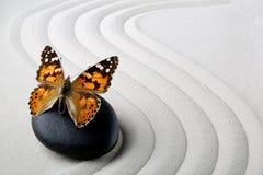 与蝴蝶的禅宗石头 免版税库存照片