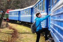 十几岁的男孩旅客  免版税图库摄影