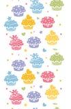 五颜六色的杯形蛋糕党垂直的无缝的样式背景 库存图片