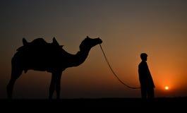 男孩和骆驼的剪影 免版税库存图片