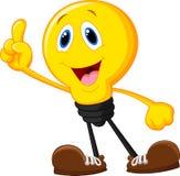 Электрическая лампочка шаржа указывая его палец Стоковая Фотография