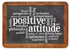 在黑板的积极态度概念 库存图片