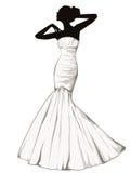 Σκιαγραφία του κομψού κοριτσιού σε ένα γαμήλιο φόρεμα Στοκ Εικόνες