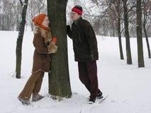 夫妇冬天 免版税图库摄影