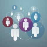 Люди вектора бумажные в кругах Стоковые Изображения