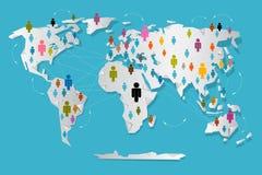 Люди вектора на бумажной карте мира Стоковая Фотография