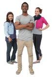 三愉快的青年人全长画象  免版税库存图片