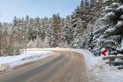 Дорога леса в зиме Стоковые Изображения